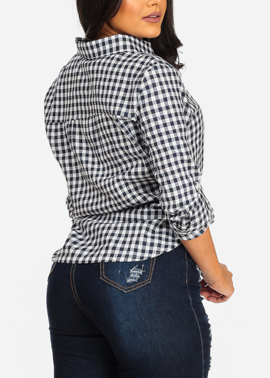 Trendy Stylish Button Up Plaid Print Navy Top
