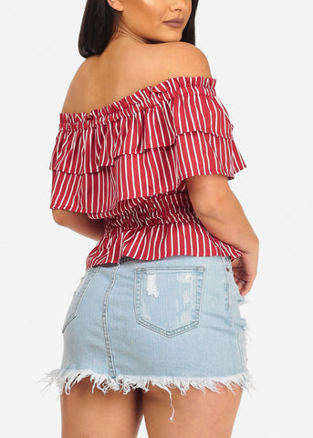 Image of Stylish Red Stripe Crop Top