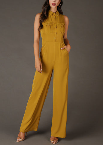 Image of Shirt Collar Buttoned Lime Jumpsuit
