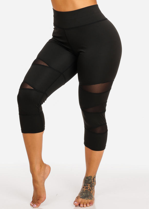 Activewear High Rise Black Capri Leggings
