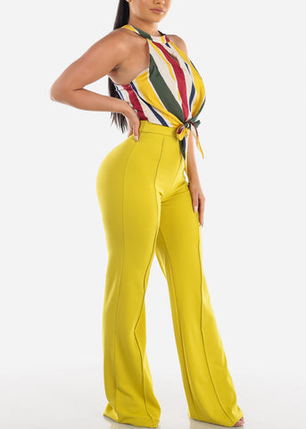 Image of Halter Partial Stripe Lime Jumpsuit