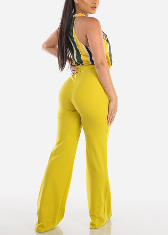 Halter Partial Stripe Lime Jumpsuit