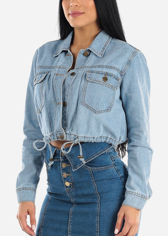 Image of Drawstring Waist Light Wash Denim Jacket