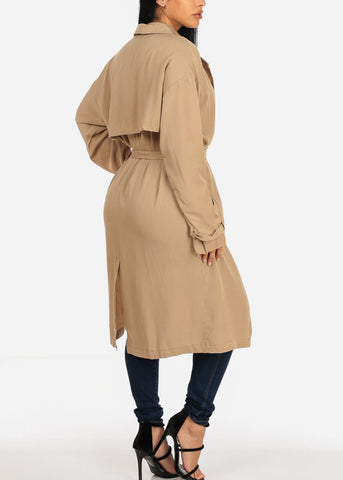 Taupe Trench Coat Jacket