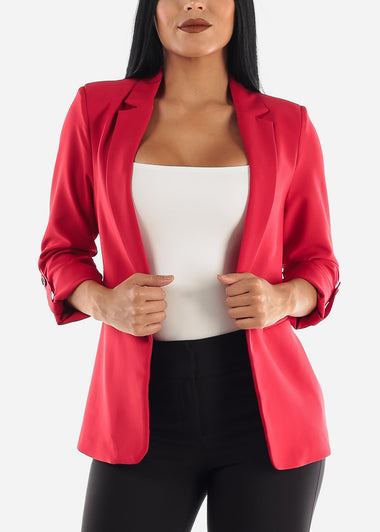 Red Cuffed Sleeve Blazer