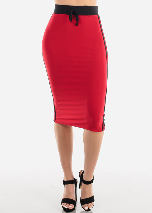 Women's Junior Ladies Cute Casual Going Out Stylish High Waisted Side Stripe Black And Red Midi Skirt