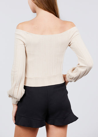 Off Shoulder Ribbed Beige Crop Top