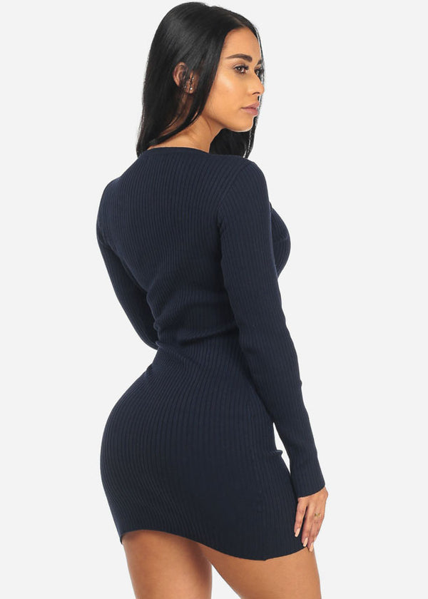 Sexy Ribbed Navy Dress