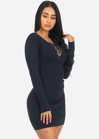 Image of Sexy Long Sleeve Navy Lace Up V-Neck Above Knee Stylish Dress