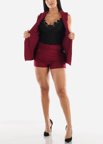 Image of Burgundy Belted Shorts