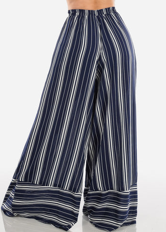 High Rise Navy Stripe Pants