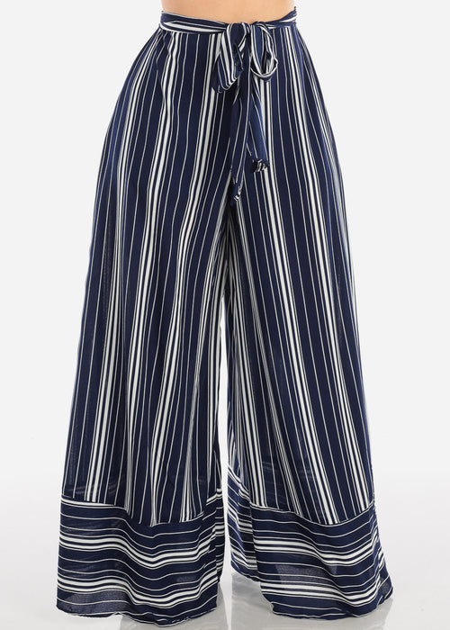 Lightweight Navy And White Stripe High Waisted Wide Legged Pants For Women Ladies Junior Summer Vacation