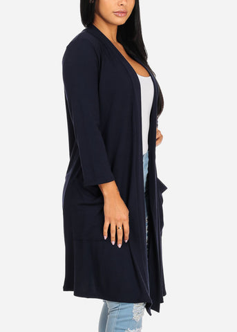 Image of Cozy Navy Open Front Maxi Cardigan