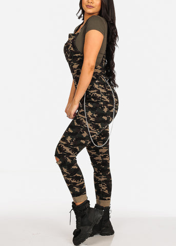 Image of Cute Stylish Distressed Camo Overall W Side Chain