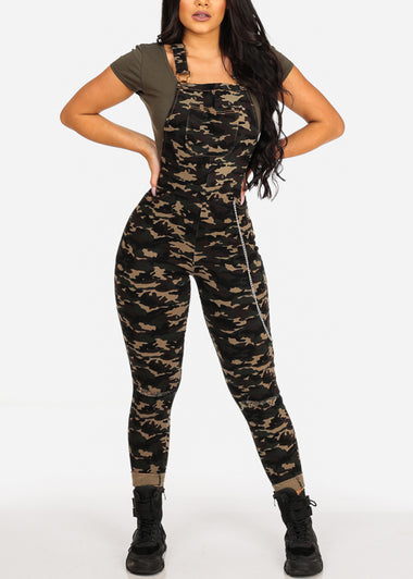 Cute Stylish Distressed Camo Overall W Side Chain