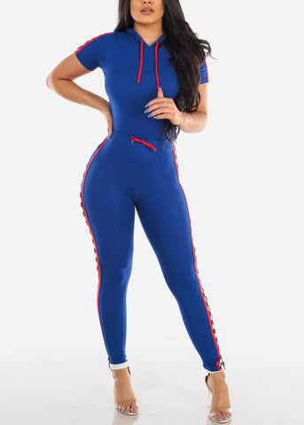 Sexy Short Sleeve Sporty Look Royal Blue And Red Sport Suit Tracksuit Trouser Two Piece Set For Women Ladies Junior