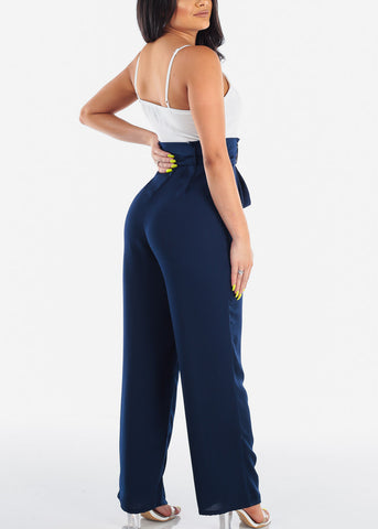 Image of Sleeveless Spaghetti Strap Cute Lightweight Blue And Navy Two Tone Jumper Jumpsuit With Tie Belt