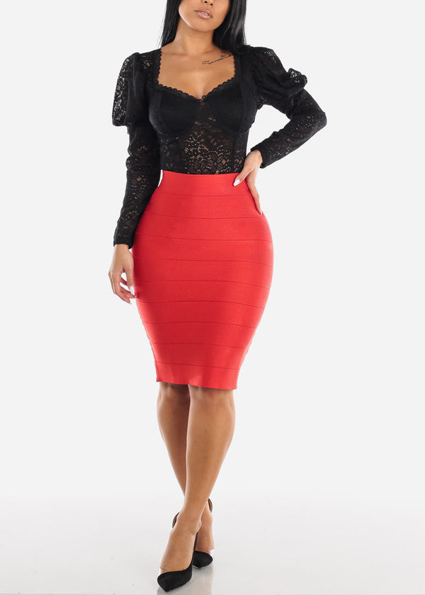 High Rise Bandage Red Skirt