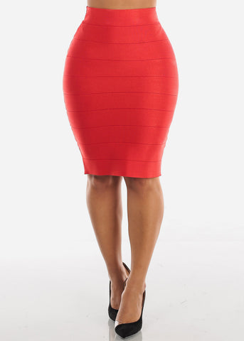 Image of High Rise Bandage Red Skirt