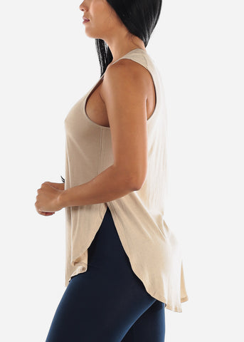 Image of Sleeveless Beige Muscle Tee
