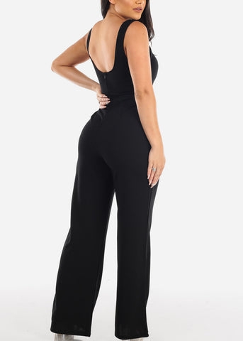 Sexy Sleeveless V Neckline Slick Solid Black Stretchy Jumper Jumpsuit