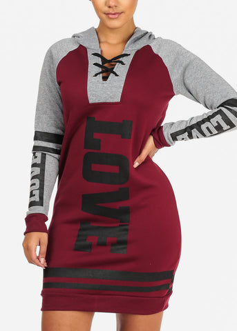 Cozy  Burgundy Love Sweater Dress