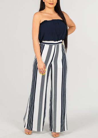 Image of Women's Junior Ladies Cute Sexy Stylish Strapless Navy And White Stripe Wide Legged Jumper Jumpsuit