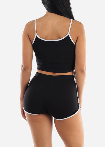 Black Crop Top & Shorts (2 PCE SET)