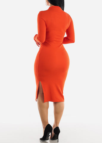 Image of High Neck Scarlet Bodycon Midi Dress