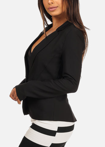Image of Classic One Button Long Sleeve Black Blazer