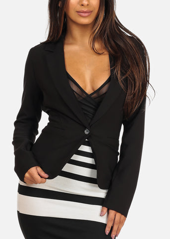 Classic One Button Long Sleeve Black Blazer
