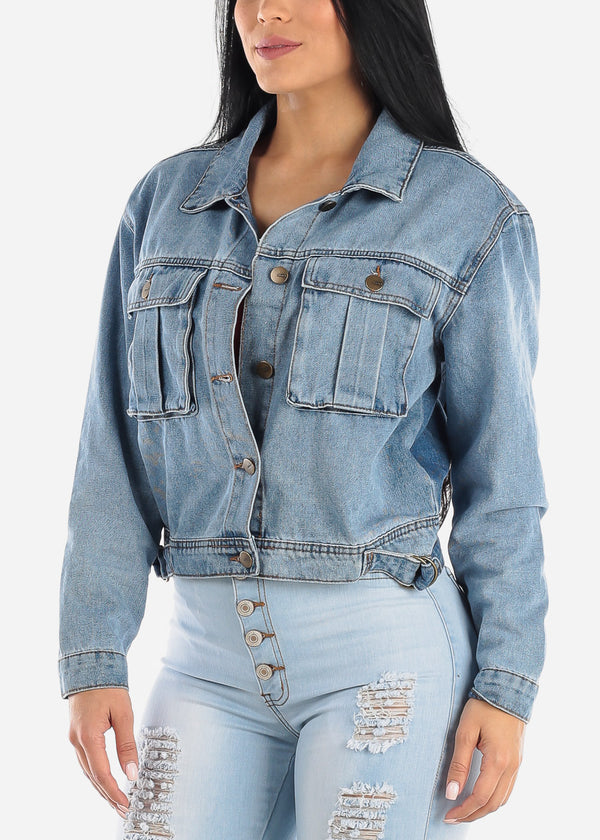 Button Up Med Wash Denim Jacket
