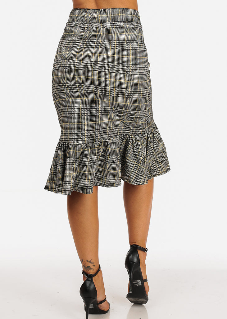 Mustard Plaid Print Skirt