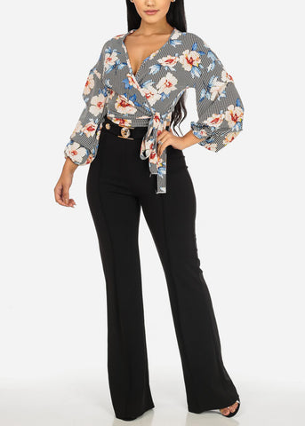 Stylish Wrap Front Floral Print Blouse