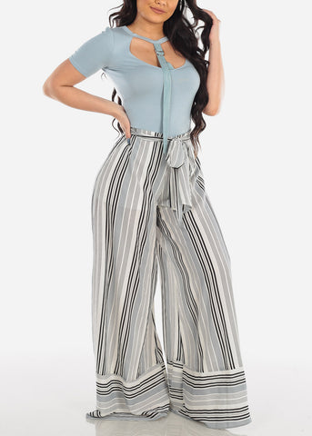 Image of Lightweight Grey And White Stripe High Waisted Wide Legged Pants For Women Ladies Junior Summer Vacation