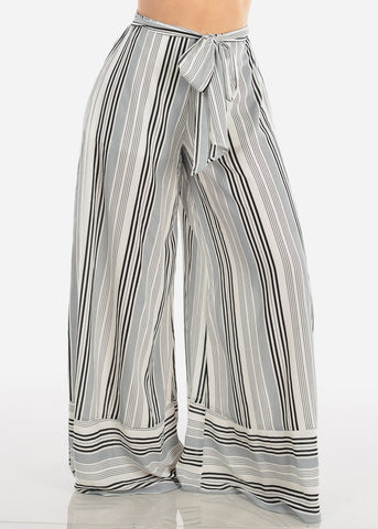 Lightweight Grey And White Stripe High Waisted Wide Legged Pants For Women Ladies Junior Summer Vacation