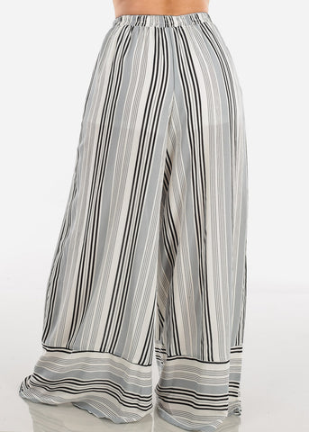 High Rise White Stripe Pants