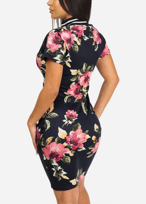 Navy Floral Front Zipper Dress