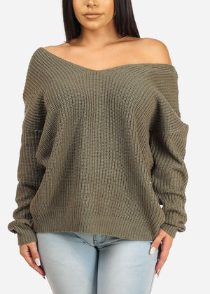 Olive Bow Tie Knitted Sweater