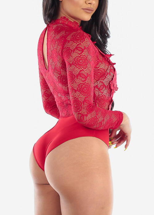 Sexy Floral Lace Red Bodysuit