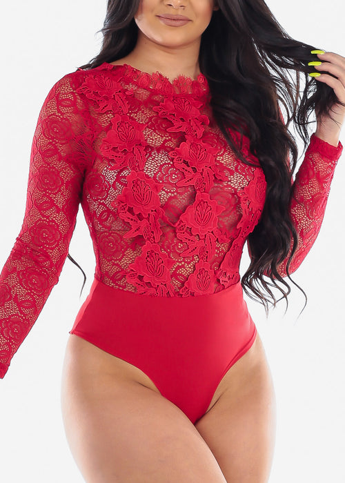 Women's Junior Ladies Sexy Clubwear Night Out Party Stylish Long Sleeve Floral Lace And Crochet Detail Long Sleeve Solid Red See Through Bodysuit