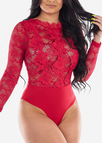 Image of Women's Junior Ladies Sexy Clubwear Night Out Party Stylish Long Sleeve Floral Lace And Crochet Detail Long Sleeve Solid Red See Through Bodysuit