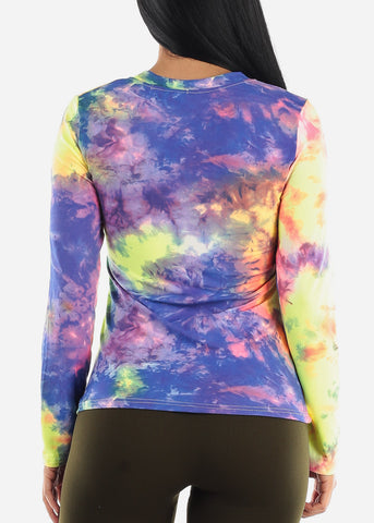 Image of Classic Vneck Multi Color Tie Dye Top