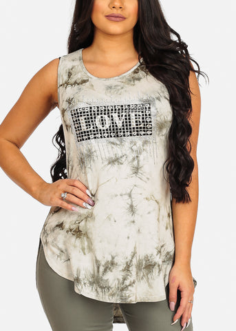 Image of Olive Love Print Top