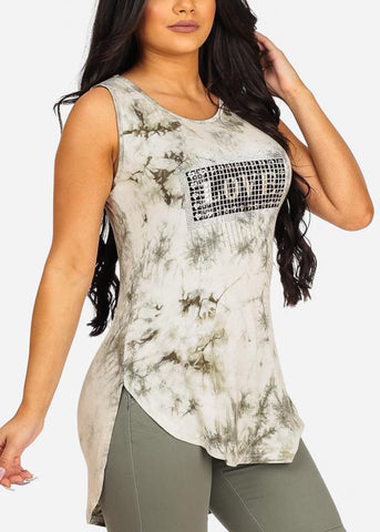 Stunning Olive Love Print Open Back Top