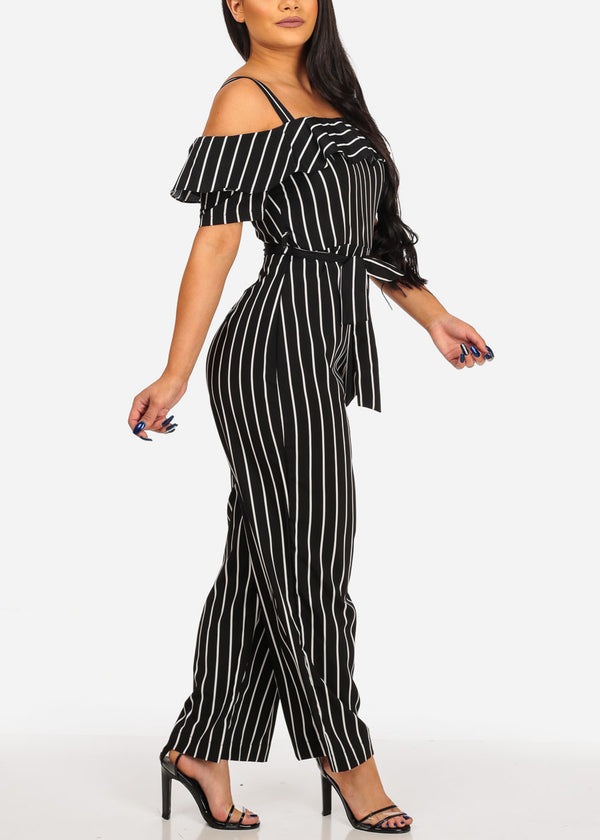 Stylish Black Stripe Jumpsuit