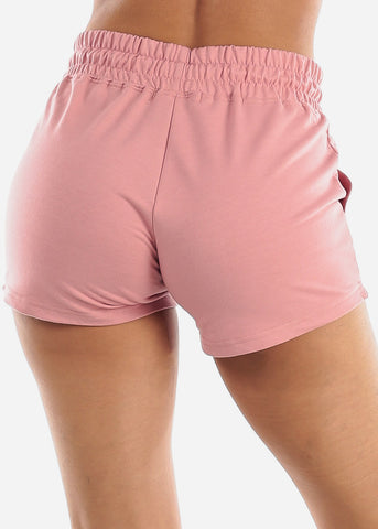 Image of Pink Drawstring Waist Shorts