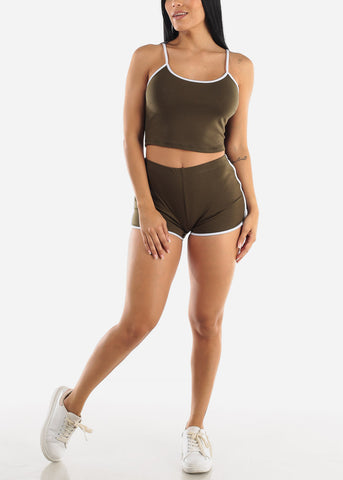 Image of Olive Crop Top & Shorts (2 PCE SET)