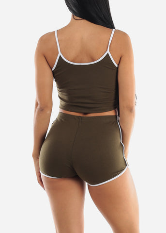 Olive Crop Top & Shorts (2 PCE SET)