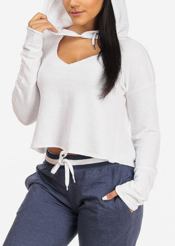 Image of White Cropped Pullover W Hood